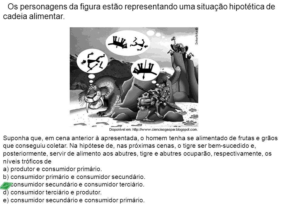Os personagens da figura estão representando uma situação hipotética de cadeia alimentar. Suponha que, em cena anterior à apresentada, o homem tenha s