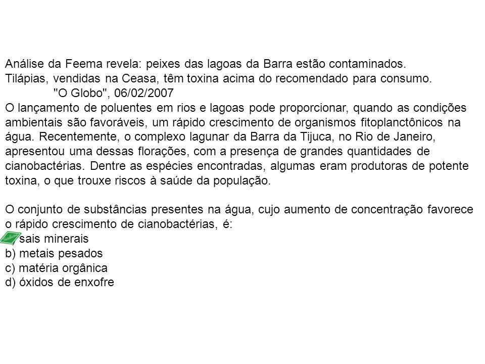 Análise da Feema revela: peixes das lagoas da Barra estão contaminados. Tilápias, vendidas na Ceasa, têm toxina acima do recomendado para consumo.