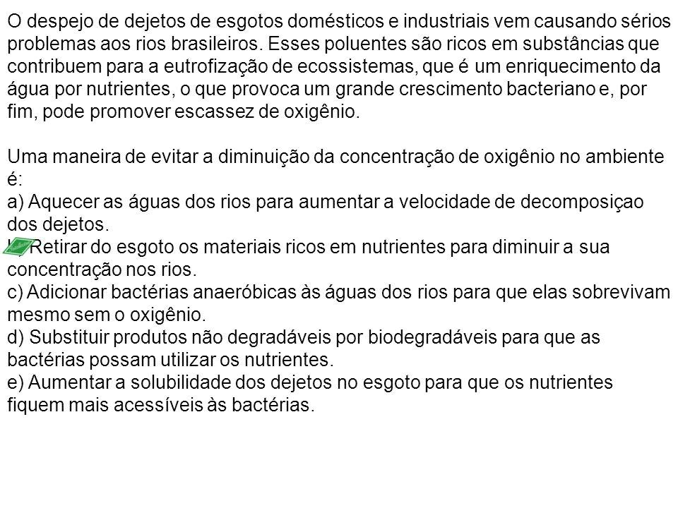 O despejo de dejetos de esgotos domésticos e industriais vem causando sérios problemas aos rios brasileiros. Esses poluentes são ricos em substâncias