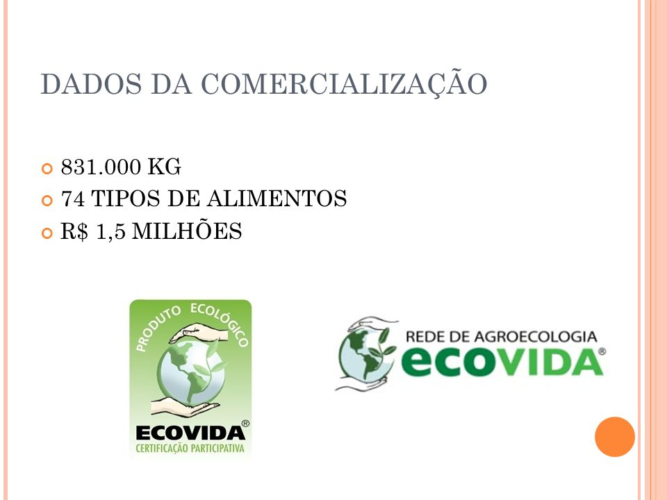 DADOS DA COMERCIALIZAÇÃO 831.000 KG 74 TIPOS DE ALIMENTOS R$ 1,5 MILHÕES