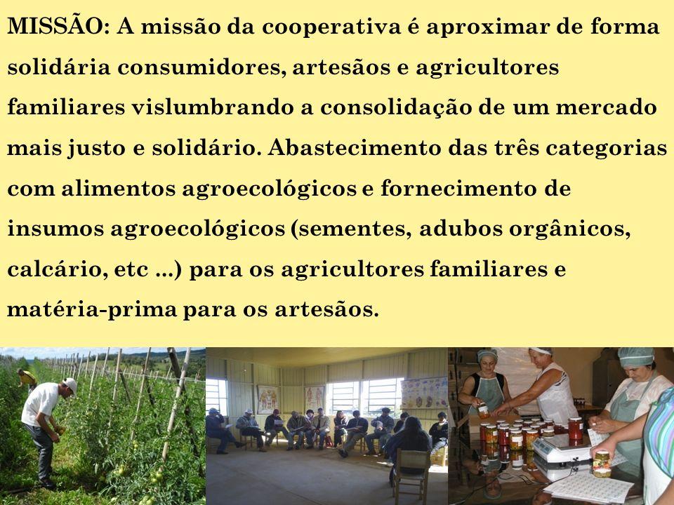 MISSÃO: A missão da cooperativa é aproximar de forma solidária consumidores, artesãos e agricultores familiares vislumbrando a consolidação de um mercado mais justo e solidário.