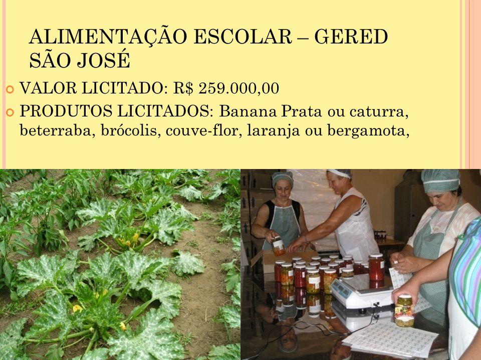 ALIMENTAÇÃO ESCOLAR – GERED SÃO JOSÉ VALOR LICITADO: R$ 259.000,00 PRODUTOS LICITADOS: Banana Prata ou caturra, beterraba, brócolis, couve-flor, laranja ou bergamota,