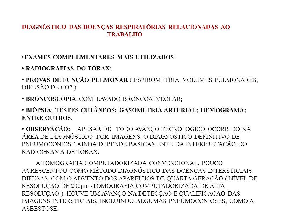 DIAGNÓSTICO DAS DOENÇAS RESPIRATÓRIAS RELACIONADAS AO TRABALHO EXAMES COMPLEMENTARES MAIS UTILIZADOS: RADIOGRAFIAS DO TÓRAX; PROVAS DE FUNÇÃO PULMONAR