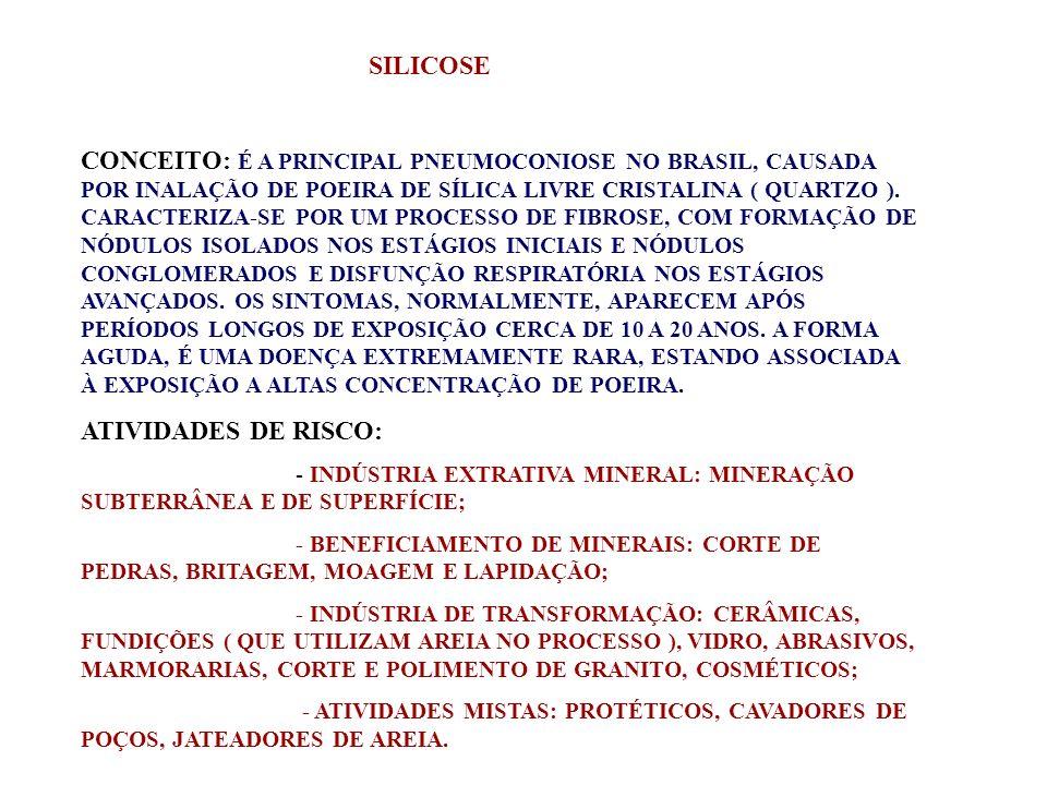 SILICOSE CONCEITO: É A PRINCIPAL PNEUMOCONIOSE NO BRASIL, CAUSADA POR INALAÇÃO DE POEIRA DE SÍLICA LIVRE CRISTALINA ( QUARTZO ). CARACTERIZA-SE POR UM