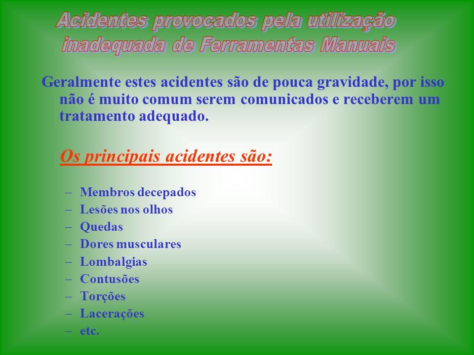 1.FALTA DE TREINAMENTO 2.MÉTODO INCORRETO DE TRABALHO 3.IMPROVISAÇÃO DE FERRAMENTAS 4.FALTA DE CONCENTRAÇÃO NA ATIVIDADE 5.FERRAMENTAS DANIFICADAS 6.FALTA DE ORGANIZAÇÃO E CONSERVAÇÃO 7.FALTA DO USO DE EPIs 8.FALTA DE PLANEJAMENTO DA ATIVIDADE