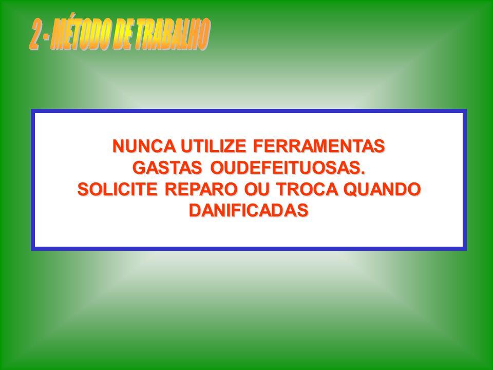 NÃO IMPROVISE E NUNCA FORCE FERRAMENTAS MANUAIS EM DIREÇÃO A PARTES CORTANTES.