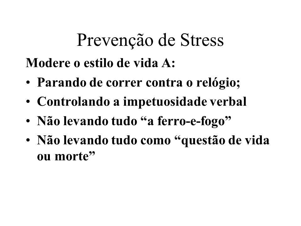 Prevenção de Stress Controle: O seu senso de premêmencia de tempo; O seu senso de ampla responsabilidade sobre tudo; O seu investimento na imagem.