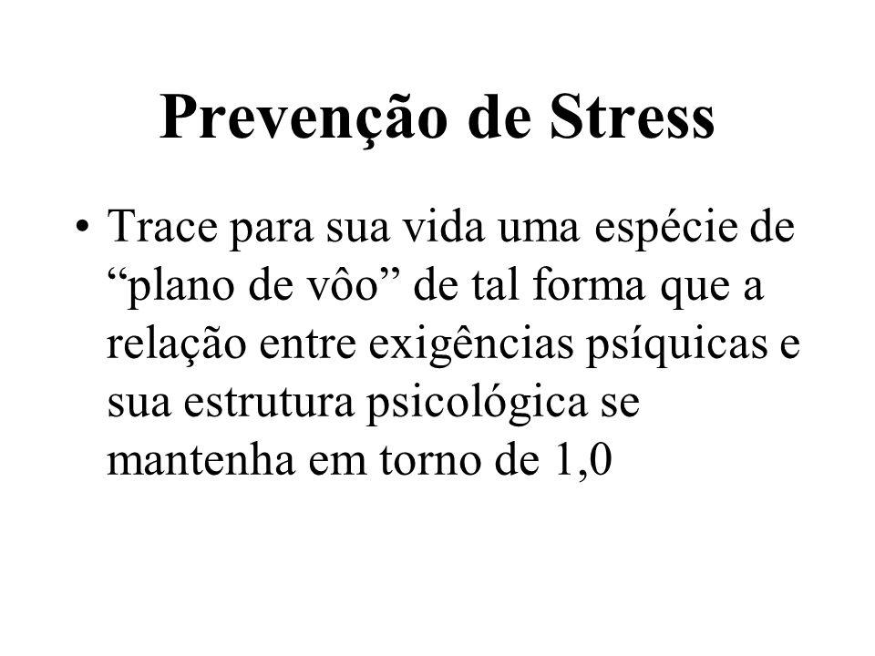 Prevenção de Stress Diante de situações de tensão ou de stress, utilize o princípio do controle cognitivo: procure conhecer bem o problema, para adquirir controle sobre o mesmo, reduzindo as exigências e aumentando sua estrutura