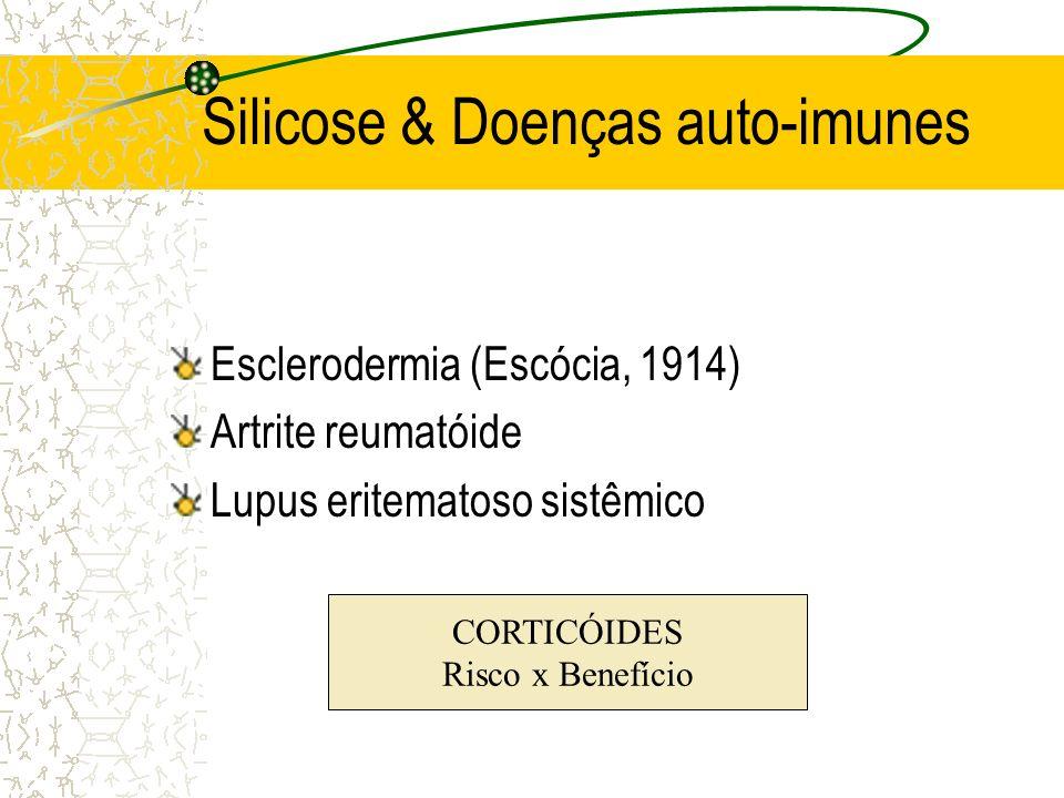 Silicose & Doenças auto-imunes Esclerodermia (Escócia, 1914) Artrite reumatóide Lupus eritematoso sistêmico CORTICÓIDES Risco x Benefício