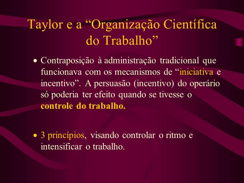 Taylor e a Organização Científica do Trabalho Contraposição à administração tradicional que funcionava com os mecanismos de iniciativa e incentivo. A