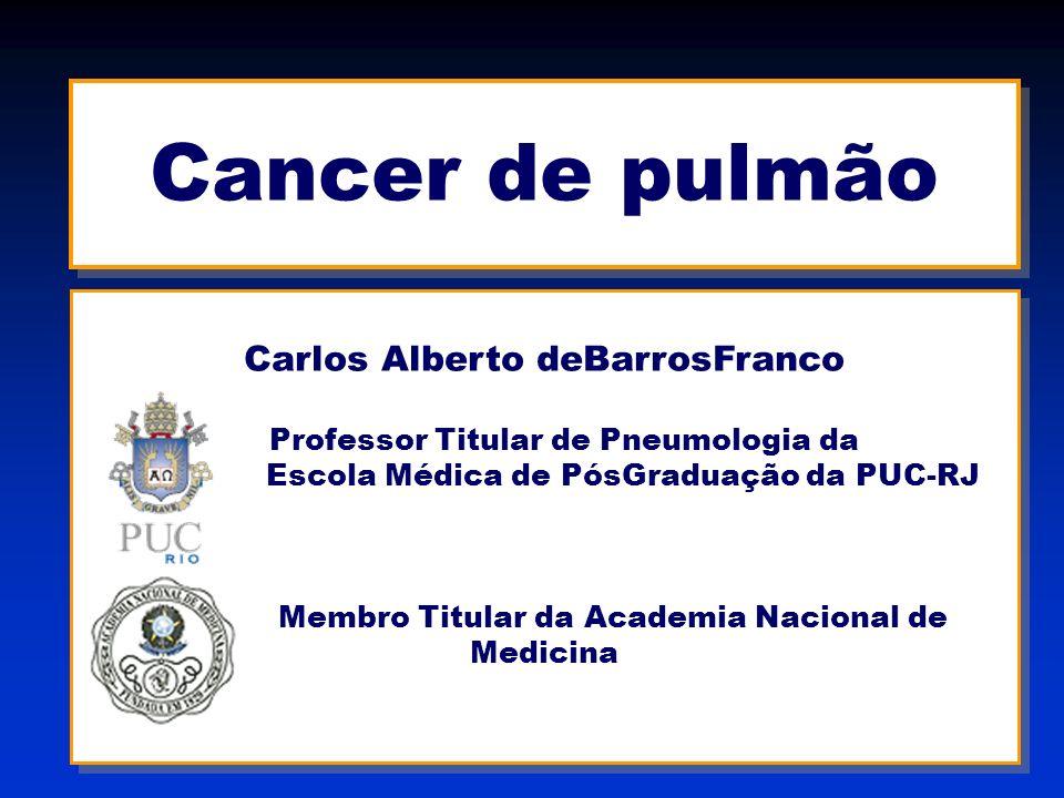 Cancer de pulmão Barros Franco Conduta no Diagnóstico e Estadiamento Radiografia de tórax TC de tórax e abdome superior Broncofibroscopia – Punção transtorácica – Punção pleural Mediastinoscopia – Toracoscopia TC ou US de abdome – TC ou RM de SNC – Cintilografia óssea PET-TC scan