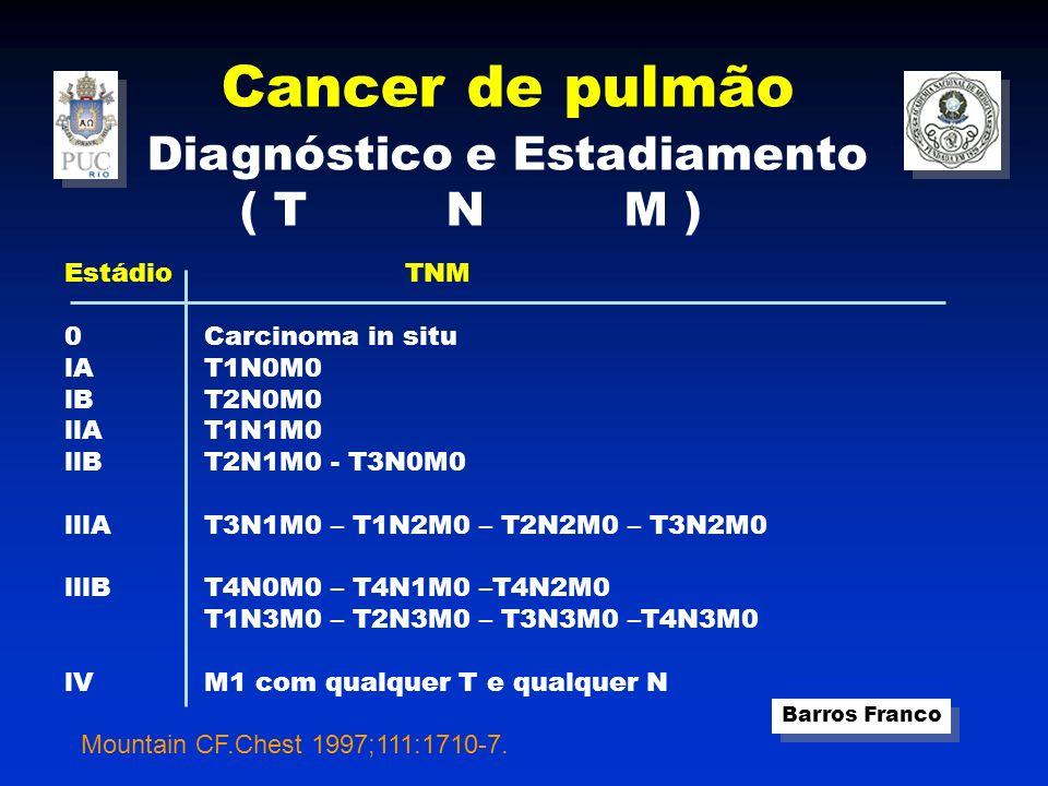 Cancer de pulmão Barros Franco Diagnóstico e Estadiamento ( T N M ) Estádio 0 lA lB llA llB lllA lllB lV TNM Carcinoma in situ T1N0M0 T2N0M0 T1N1M0 T2N1M0 - T3N0M0 T3N1M0 – T1N2M0 – T2N2M0 – T3N2M0 T4N0M0 – T4N1M0 –T4N2M0 T1N3M0 – T2N3M0 – T3N3M0 –T4N3M0 M1 com qualquer T e qualquer N Mountain CF.Chest 1997;111:1710-7.