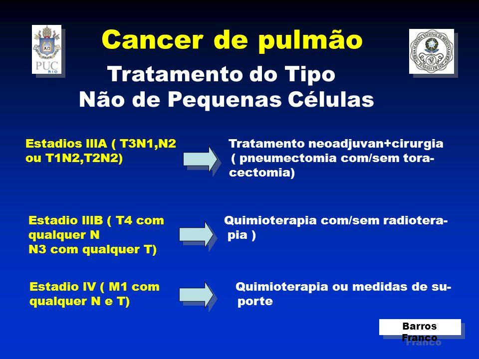 Cancer de pulmão Barros Franco Tratamento do Tipo Não de Pequenas Células Estadios lllA ( T3N1,N2 Tratamento neoadjuvan+cirurgia ou T1N2,T2N2) ( pneumectomia com/sem tora- cectomia) Estadio lllB ( T4 com Quimioterapia com/sem radiotera- qualquer N pia ) N3 com qualquer T) Estadio lV ( M1 com Quimioterapia ou medidas de su- qualquer N e T) porte