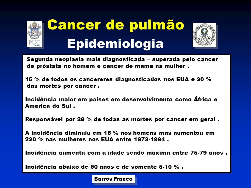 Cancer de pulmão Barros Franco Fatores de risco USO DO TABACO Responsável por 75-90 % dos canceres de pulmão.