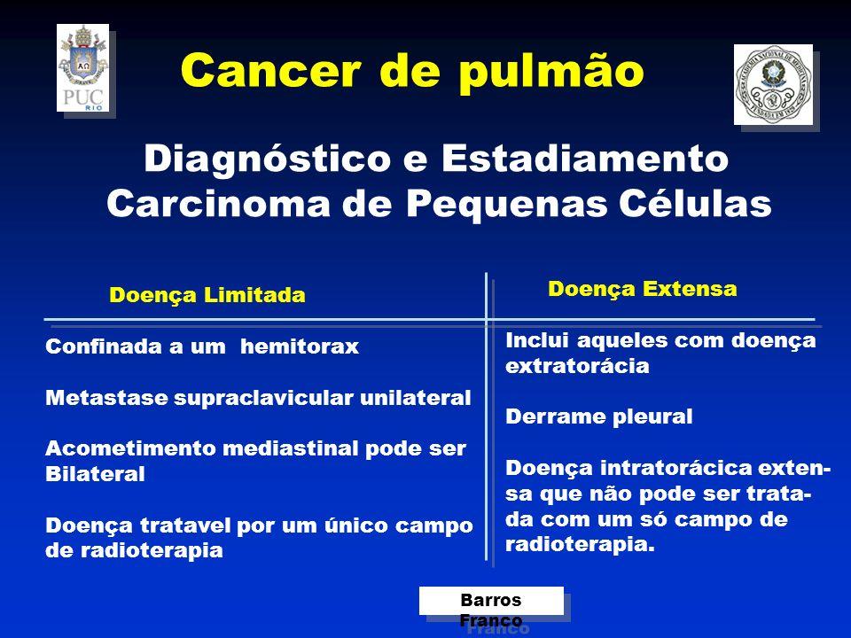 Cancer de pulmão Barros Franco Diagnóstico e Estadiamento Carcinoma de Pequenas Células Doença Limitada Confinada a um hemitorax Metastase supraclavicular unilateral Acometimento mediastinal pode ser Bilateral Doença tratavel por um único campo de radioterapia Doença Extensa Inclui aqueles com doença extratorácia Derrame pleural Doença intratorácica exten- sa que não pode ser trata- da com um só campo de radioterapia.