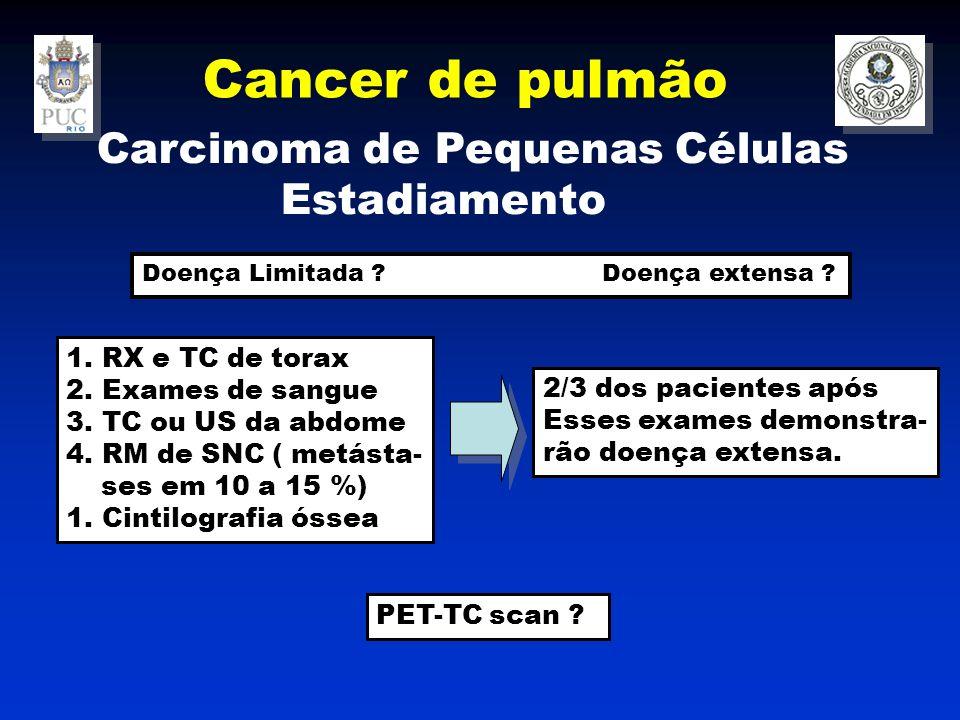 Cancer de pulmão Carcinoma de Pequenas Células Estadiamento 1.RX e TC de torax 2.Exames de sangue 3.TC ou US da abdome 4.RM de SNC ( metásta- ses em 10 a 15 %) 1.Cintilografia óssea 2/3 dos pacientes após Esses exames demonstra- rão doença extensa.