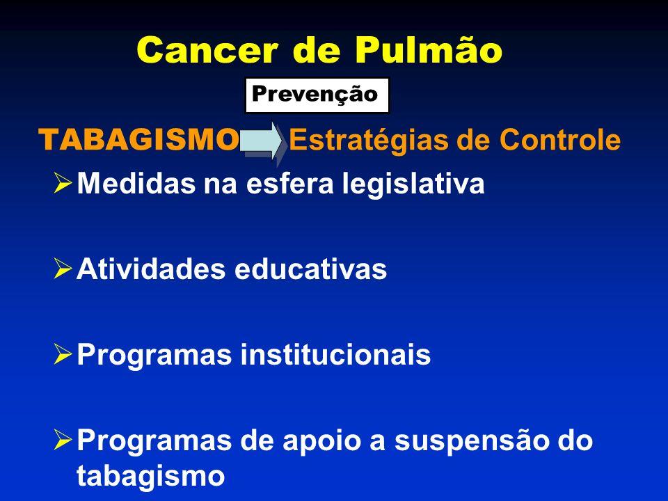 TABAGISMO Estratégias de Controle Medidas na esfera legislativa Atividades educativas Programas institucionais Programas de apoio a suspensão do tabagismo Cancer de Pulmão Prevenção