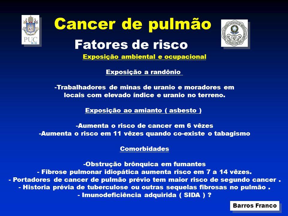 Cancer de pulmão Barros Franco Fatores de risco Exposição ambiental e ocupacional Exposição a randônio -Trabalhadores de minas de uranio e moradores em locais com elevado índice e uranio no terreno.