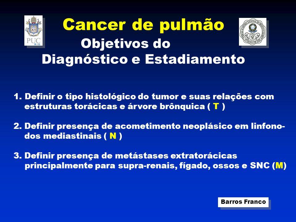 Cancer de pulmão Barros Franco Diagnóstico e Estadiamento ( T N M ) T –TUMOR PRIMÁRIO T0 – ausência de tumor TX – citologia positiva mas tumor não visualizado em método de Imagem ou broncoscopia.