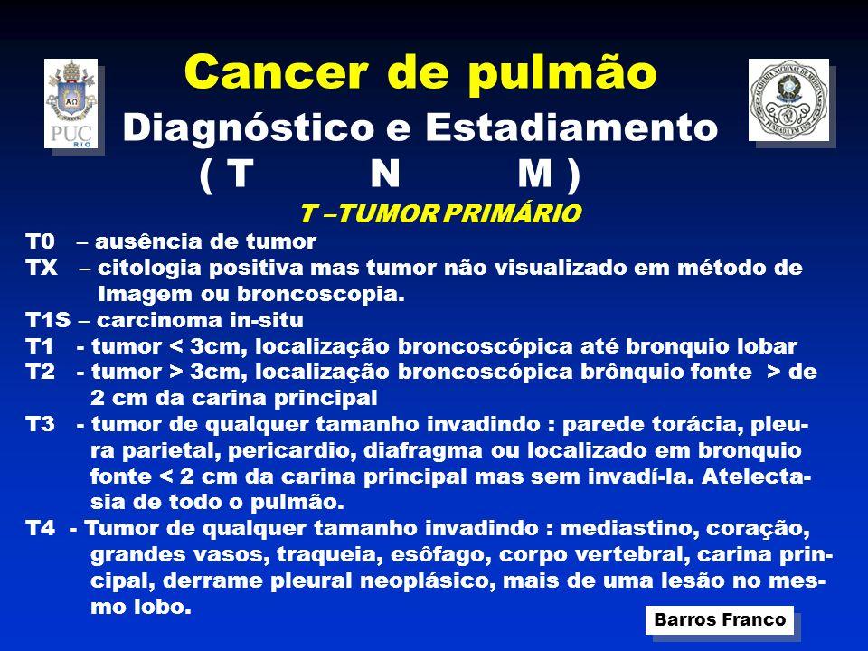 Cancer de pulmão Barros Franco Diagnóstico e Estadiamento ( T N M ) N – LINFONODAL ENVOLVIMENTO NX – Linfonodos regionais não podem ser acessados N0 - Ausência de metástases linfonodais N1 - Metástases linfonadais intrapulmonares ou hilares ipsilaterais N2 - Metástases linfonodais mediastinais ipsilaterais ou subcarinais N3 - Metástases linfonodais mediastinais contralaterais, hilares con- tralaterais ou supraclaviculares