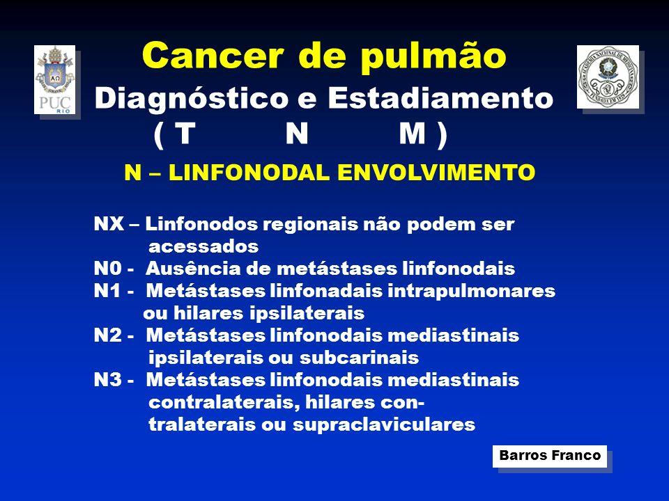 Cancer de pulmão Barros Franco Diagnóstico e Estadiamento ( T N M ) M – Metástase extra torácica ( hematogênica ) M0 – ausência de metástases M1- presença de metástases mais comuns : suprarenais, fígado, osso e SNC