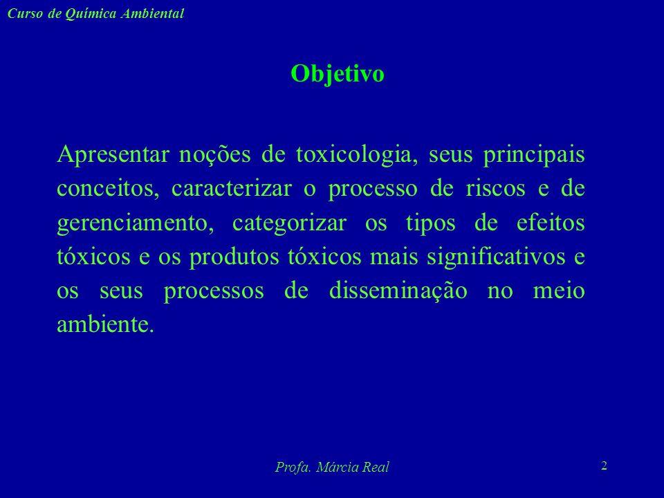 1 Curso de Química Ambiental Profa. Márcia Real Profa. Márcia Valle Real CURSO DE QUÍMICA AMBIENTAL Noções de Toxicologia