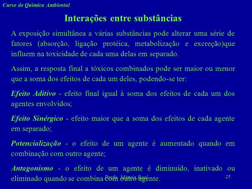 24 Curso de Química Ambiental Profa. Márcia Real 7. Infertilidade - masculina, feminina ou mista. teratogênese - provocada por agentes infecciosos ou