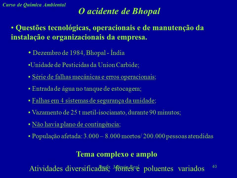 39 Curso de Química Ambiental Profa. Márcia Real Curiosidades sobre o DDT O composto 1,1-bis(4-clorofenil)-2,2,2-tricloroetano, mais conhecido pela si