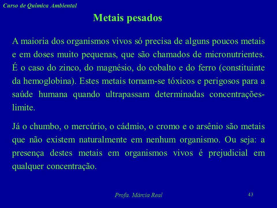 42 Curso de Química Ambiental Profa. Márcia Real Metais pesados Os metais pesados não podem ser destruídos e são altamente reativos do ponto de vista