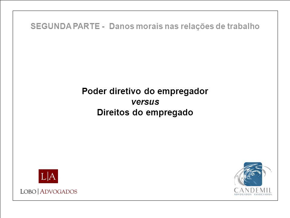 Poder diretivo do empregador versus Direitos do empregado SEGUNDA PARTE - Danos morais nas relações de trabalho