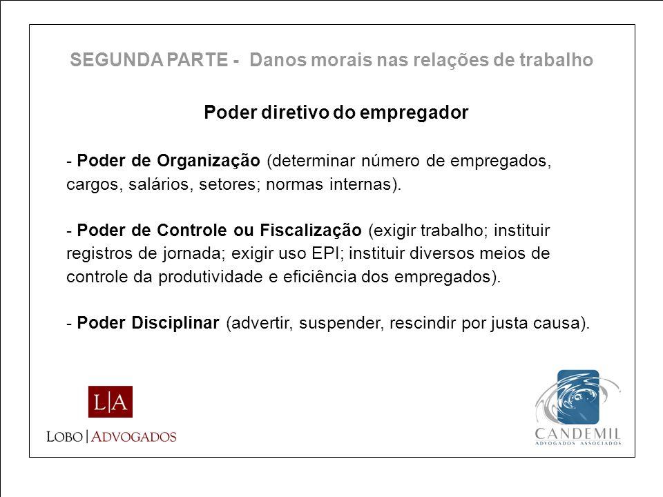Poder diretivo do empregador - Poder de Organização (determinar número de empregados, cargos, salários, setores; normas internas). - Poder de Controle