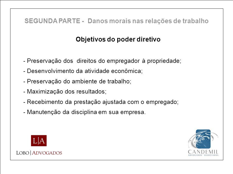 Objetivos do poder diretivo - Preservação dos direitos do empregador à propriedade; - Desenvolvimento da atividade econômica; - Preservação do ambient