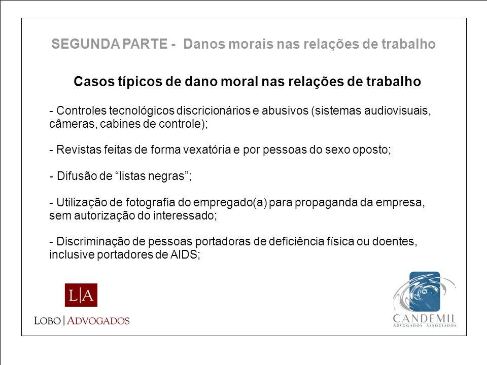 Casos típicos de dano moral nas relações de trabalho - Controles tecnológicos discricionários e abusivos (sistemas audiovisuais, câmeras, cabines de c