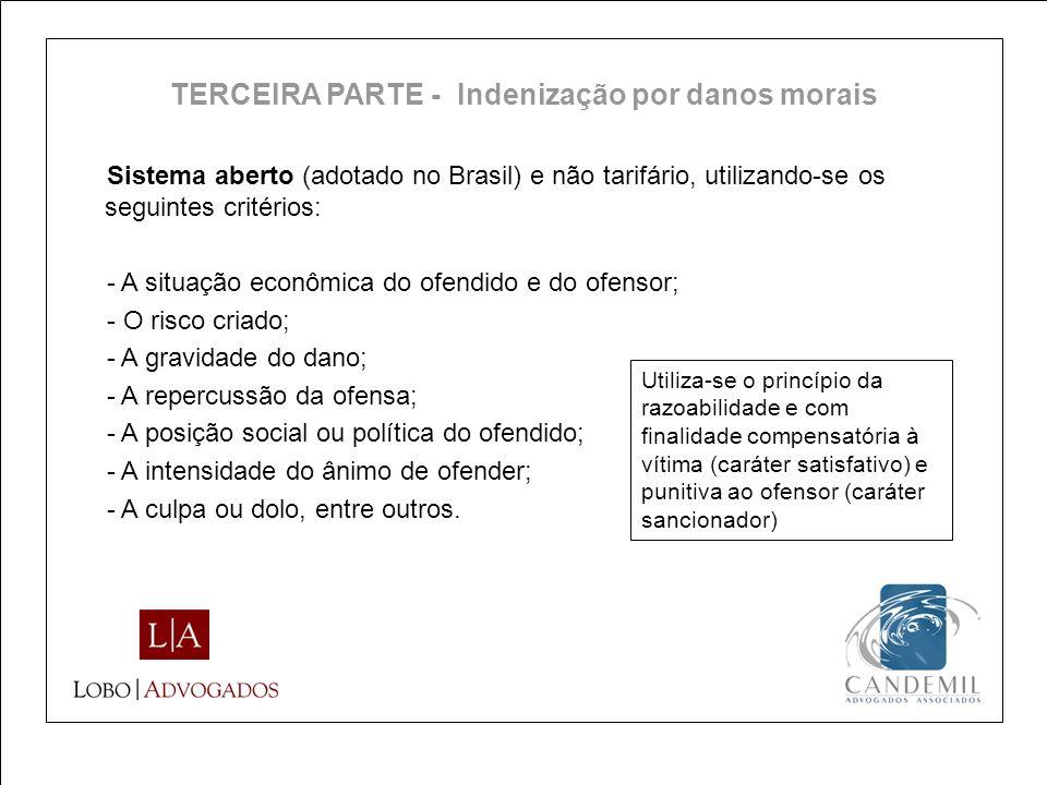Sistema aberto (adotado no Brasil) e não tarifário, utilizando-se os seguintes critérios: - A situação econômica do ofendido e do ofensor; - O risco c
