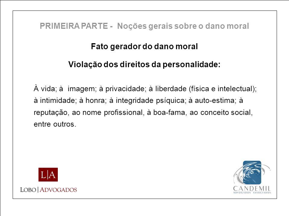 Fato gerador do dano moral À vida; à imagem; à privacidade; à liberdade (física e intelectual); à intimidade; à honra; à integridade psíquica; à auto-