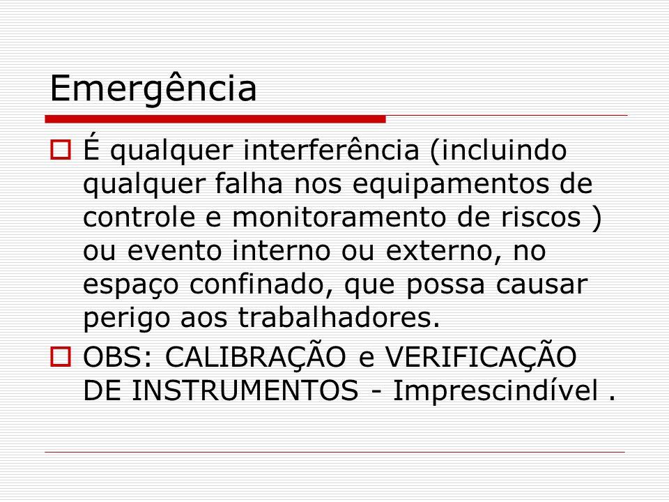 Emergência É qualquer interferência (incluindo qualquer falha nos equipamentos de controle e monitoramento de riscos ) ou evento interno ou externo, n