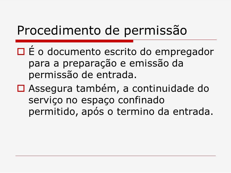 Procedimento de permissão É o documento escrito do empregador para a preparação e emissão da permissão de entrada. Assegura também, a continuidade do