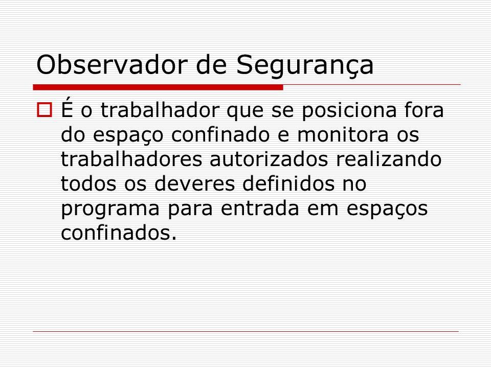 Observador de Segurança É o trabalhador que se posiciona fora do espaço confinado e monitora os trabalhadores autorizados realizando todos os deveres