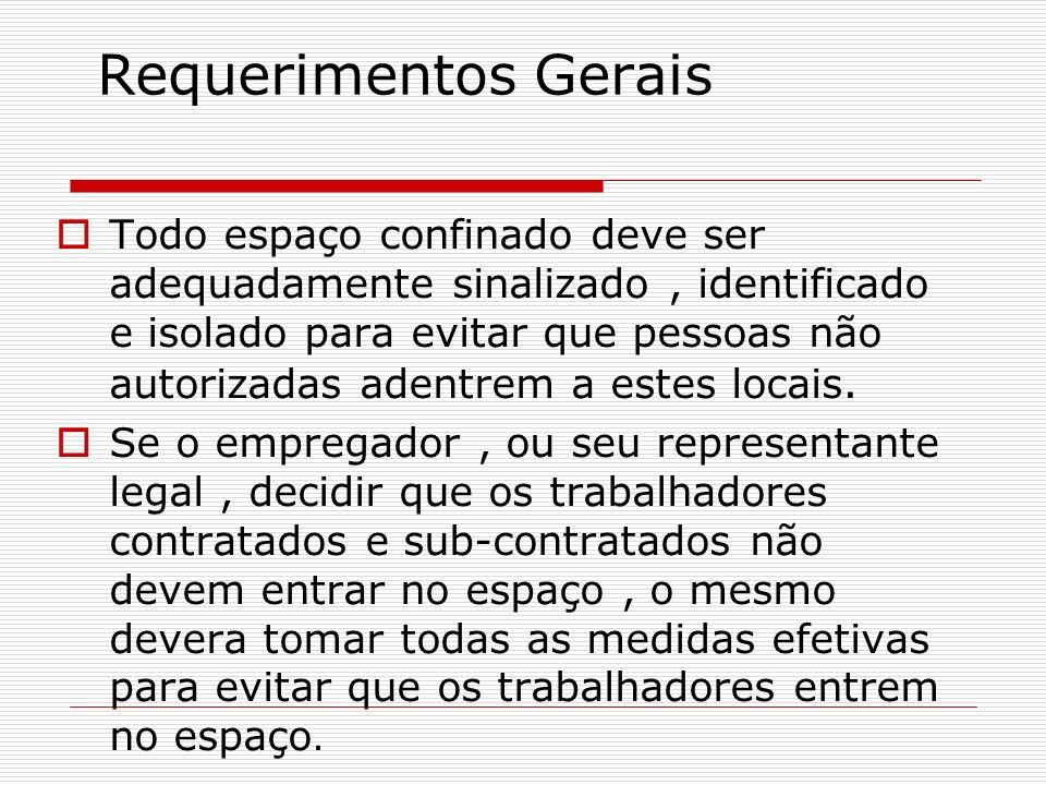 Requerimentos Gerais Todo espaço confinado deve ser adequadamente sinalizado, identificado e isolado para evitar que pessoas não autorizadas adentrem