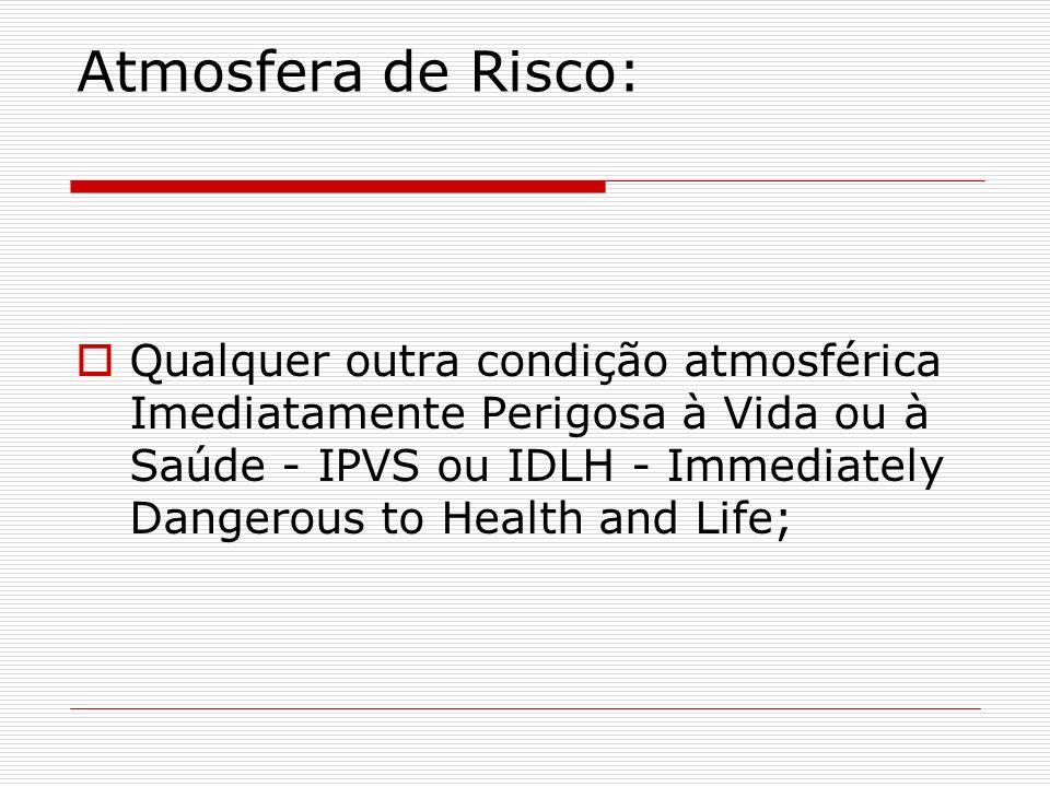 Atmosfera de Risco: Qualquer outra condição atmosférica Imediatamente Perigosa à Vida ou à Saúde - IPVS ou IDLH - Immediately Dangerous to Health and
