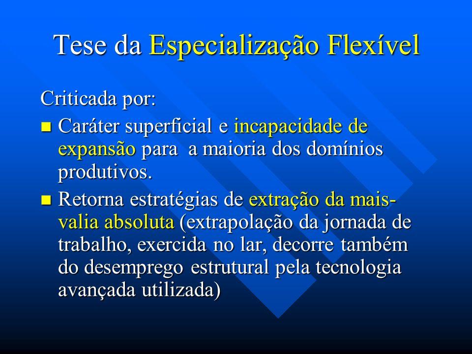 Tese da Especialização Flexível Criticada por: Caráter superficial e incapacidade de expansão para a maioria dos domínios produtivos. Caráter superfic