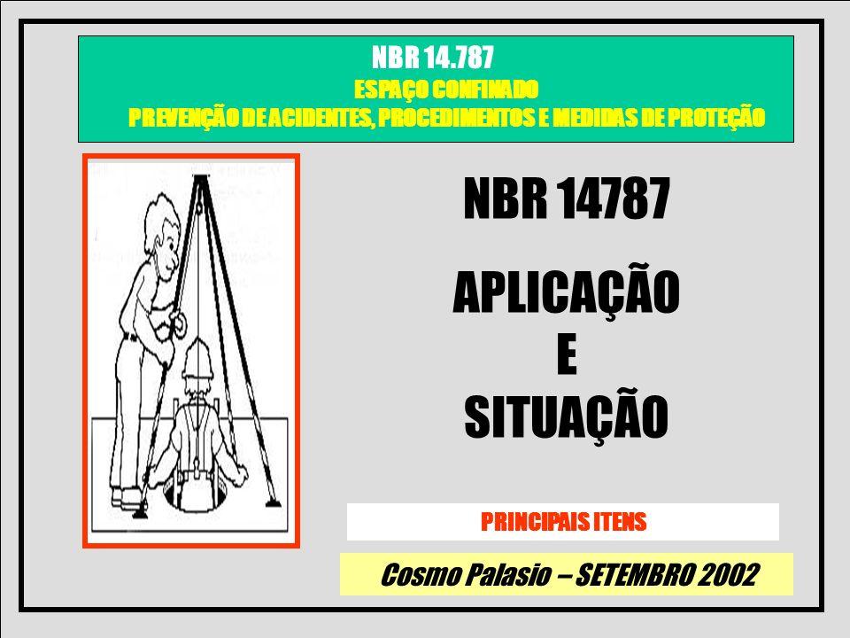 Cosmo Palasio – SETEMBRO 2002 NBR 14.787 ESPAÇO CONFINADO PREVENÇÃO DE ACIDENTES, PROCEDIMENTOS E MEDIDAS DE PROTEÇÃO OBJETIVO DA NBR 14787 ESTA NORMA ESTABELECE OS REQUISITOS MÍNIMOS PARA PROTEÇÃO DOS TRABALHADORES E DO LOCAL DE TRABALHO CONTRA OS RISCOS DE ENTRADA EM ESPAÇOS CONFINADOS DATA DA EMISSÃO 30.01.2002