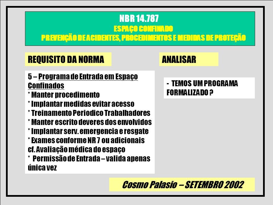 Cosmo Palasio – SETEMBRO 2002 NBR 14.787 ESPAÇO CONFINADO PREVENÇÃO DE ACIDENTES, PROCEDIMENTOS E MEDIDAS DE PROTEÇÃO REQUISITO DA NORMAANALISAR 5 – P