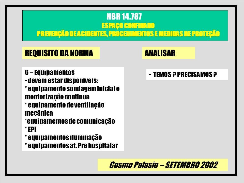 Cosmo Palasio – SETEMBRO 2002 NBR 14.787 ESPAÇO CONFINADO PREVENÇÃO DE ACIDENTES, PROCEDIMENTOS E MEDIDAS DE PROTEÇÃO REQUISITO DA NORMAANALISAR 6 – E