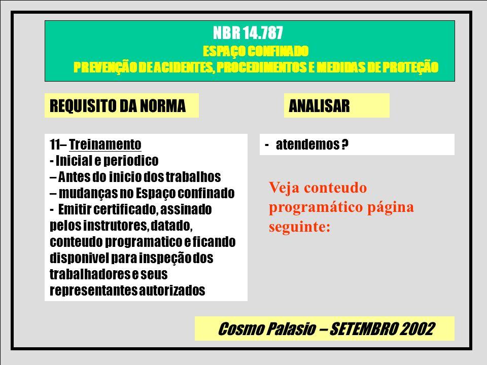Cosmo Palasio – SETEMBRO 2002 NBR 14.787 ESPAÇO CONFINADO PREVENÇÃO DE ACIDENTES, PROCEDIMENTOS E MEDIDAS DE PROTEÇÃO REQUISITO DA NORMAANALISAR 11– T