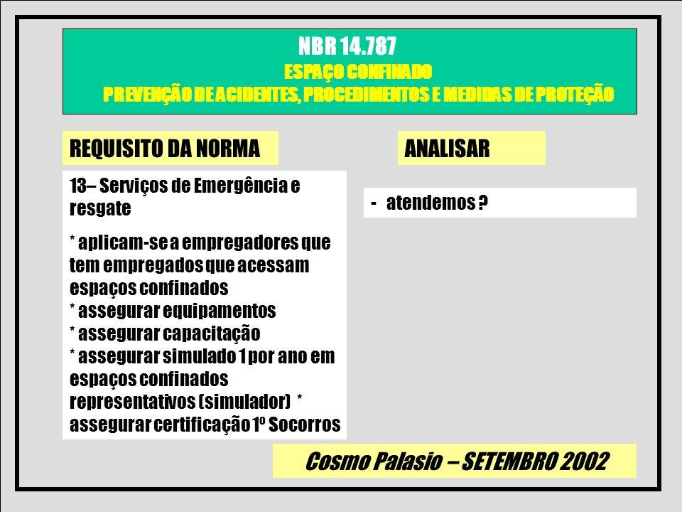Cosmo Palasio – SETEMBRO 2002 NBR 14.787 ESPAÇO CONFINADO PREVENÇÃO DE ACIDENTES, PROCEDIMENTOS E MEDIDAS DE PROTEÇÃO REQUISITO DA NORMAANALISAR 13– S