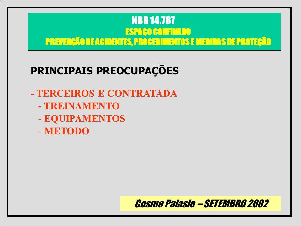 Cosmo Palasio – SETEMBRO 2002 NBR 14.787 ESPAÇO CONFINADO PREVENÇÃO DE ACIDENTES, PROCEDIMENTOS E MEDIDAS DE PROTEÇÃO PRINCIPAIS PREOCUPAÇÕES - TERCEI