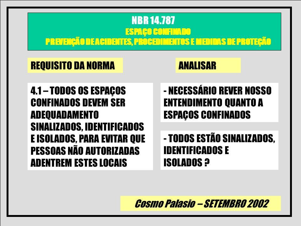 Cosmo Palasio – SETEMBRO 2002 NBR 14.787 ESPAÇO CONFINADO PREVENÇÃO DE ACIDENTES, PROCEDIMENTOS E MEDIDAS DE PROTEÇÃO REQUISITO DA NORMAANALISAR 4.2 – SE O EMPREGADOR DECIDIR QUE OS TRABALHADORES CONTRADOS E SUBCONTRATADOS NÃO DEVEM ENTRAR NO ESPAÇO CONFINADO DEVERÁ TOMAR MEDIDAS EFETIVAS PARA EVITAR QUE ESTES ENTREM EM ESPAÇOS CONFINADOS - PRECISAMOS DEFINIR O QUE SÃO MEDIDAS EFETIVAS E SE O QUE TEMOS NA ATUALIDADE ATENDE