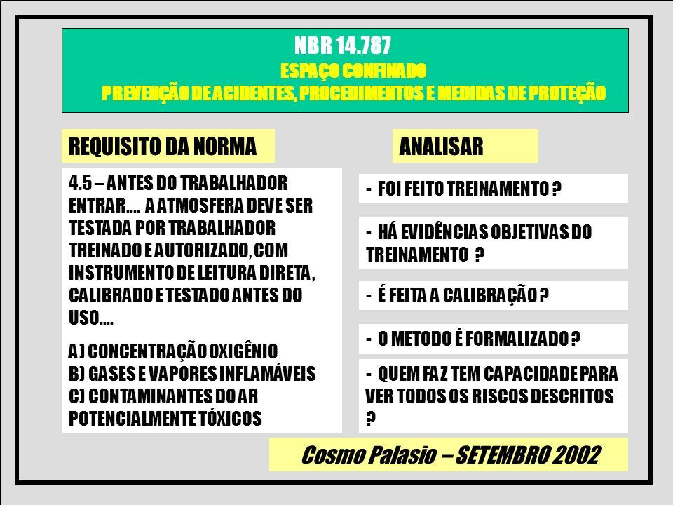 Cosmo Palasio – SETEMBRO 2002 NBR 14.787 ESPAÇO CONFINADO PREVENÇÃO DE ACIDENTES, PROCEDIMENTOS E MEDIDAS DE PROTEÇÃO REQUISITO DA NORMAANALISAR 4.6 – O REGISTRO DE DADOS DEVE SER DOCUMENTANDO PELO E ESTAR DISPONIVEL PARA OS TRABALHADORES QUE ENTREM EM ESPAÇOS CONFINADOS - HÁ EVIDÊNCIAS OBJETIVAS ?