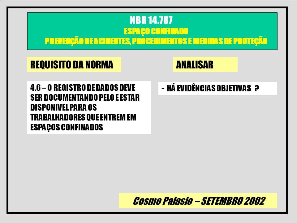 Cosmo Palasio – SETEMBRO 2002 NBR 14.787 ESPAÇO CONFINADO PREVENÇÃO DE ACIDENTES, PROCEDIMENTOS E MEDIDAS DE PROTEÇÃO REQUISITO DA NORMAANALISAR 5 – Programa de Entrada em Espaço Confinados * Manter procedimento * Implantar medidas evitar acesso * Treinamento Periodico Trabalhadores * Manter escrito deveres dos envolvidos * Implantar serv.